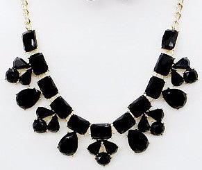 Black Floral Gemstone Necklace