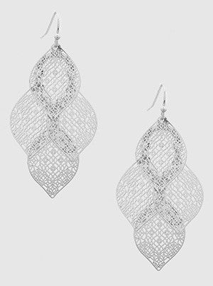 Leaf Stencil Chandelier Drop Earrings