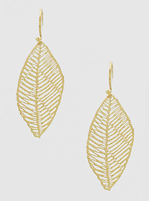 Leaf Stencil Earrings in Gold
