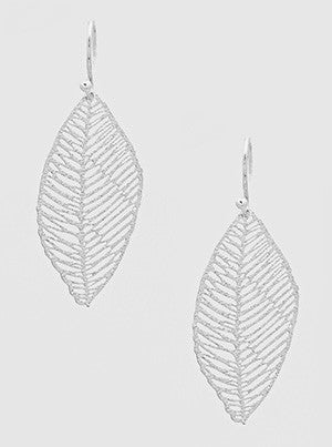 Leaf Stencil Earrings in Silver