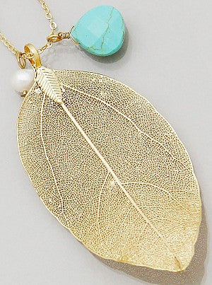 Gold Leaf with Turquoise Accent Necklace