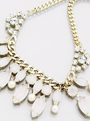 Marquise Bead Drop Crystal Necklace