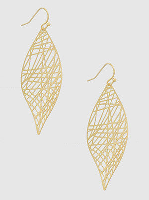 Stencil Cutout Drop Earrings in Gold