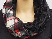 Plaid & Fur Infinity Scarf - Red & White