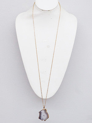Taupe Gemstone Long Necklace