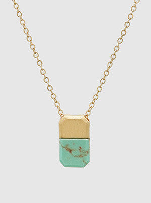 Rectangle Turquoise and Gold Necklace