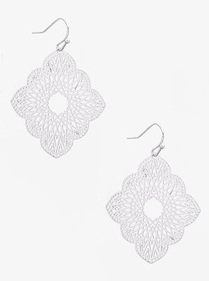 Ornate Silver Scallop Earrings