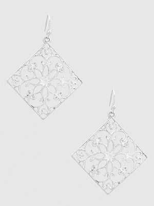 Silver Stencil Earrings