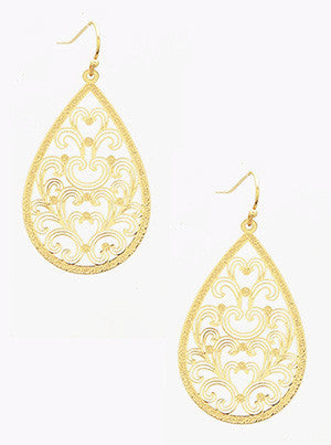 Ornate Gold Tear Drop Earrings