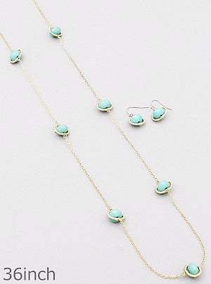 Mint Oval Beaded Long Necklace