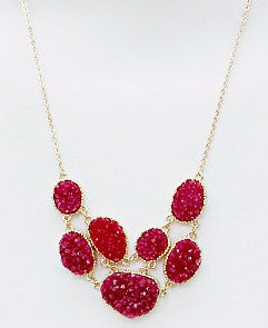 Double Layer Raspberry Druzy Necklace