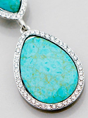 Turquoise Crystal Pave Necklace