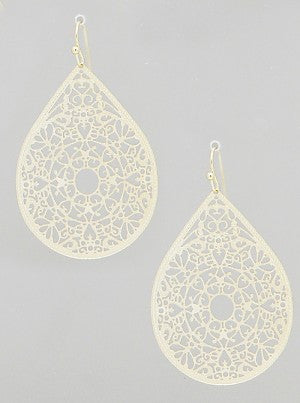 Teardrop Filigree Earrings in Gold