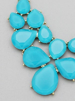 Turquoise Tear Drop Cluster Necklace