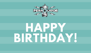Perkolator Birthday Gift Card Blue Stripes