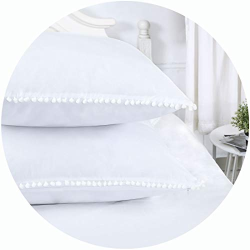 YINFUNG Ruffled Pillow Shams Standard White Set of 2 Lace Pillowcases Shabby Chic Bright Farmhouse Ruffle Victorian Country French Pretty Princess Frilly Pillow Cover Pure Cotton Pintuck Cute 20x26