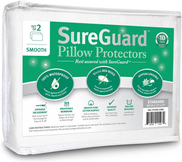 Set of 2 Standard Size SureGuard Pillow Protectors - 100% Waterproof, Bed Bug Proof, Hypoallergenic - Premium Zippered Cotton Terry Covers - 10 Year Warranty