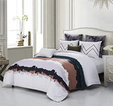 EverRouge May Blossom 7pc Duvet Set Queen 100% Egyptian Cotton with 4 Shams,2 Decorative Pillows Soft and Heavy
