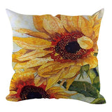 Ankola Flowers Birds Sunflower Print Pattern Cotton Linen Square Throw Pillow Case Decorative Cushion Cover Pillowcase for Sofa,Bed,Chair,Bedding
