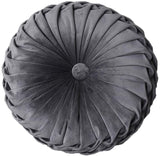 YunNasi Round Velvet Pleated Pillow Filled Cushion Chair Decorative Throw Pillow Home for Home Sofa Bed Car Decor 13 inch (Beige)