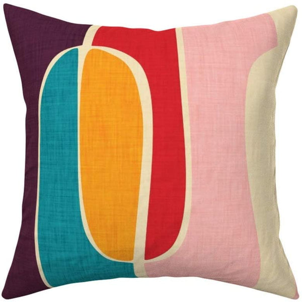 RDse5s5 Mid Century Modern Throw Pillow Retro Waves Colorful Geometric Retro Colors 18x18 Square Throw Pillow