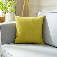 "Comcomy Cotton Linen Solid Color Throw Pillow Square Decorative for Sofa Bed Car (Yellow Gray, Pillow Core +Cover,18""x18"")"