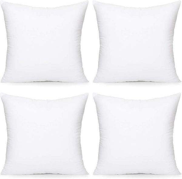 "Acanva Throw Pillow Inserts Decorative Stuffer Soft Hypoallergenic Polyester Couch Square Form Euro Sham Cushion Filler, 18""-4P, White"