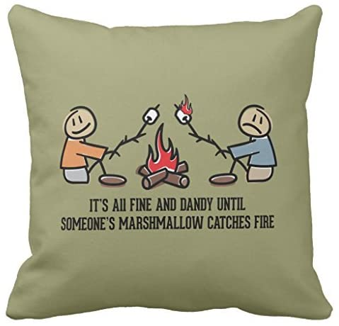 Funny Camping Saying and Cartoon Decorative Pillow Case with Invisible Zipper Canvas Throw Pillow Cover for Sofa and Couch 18 x 18