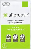 "AllerEase 100% Cotton Allergy Protection Pillow Protectors – Hypoallergenic, Zippered, Allergist Recommended, Prevent Collection of Dust Mites and Other Allergens, Standard Sized, 20"" x 26"" (Set of 2)"