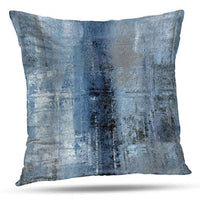 Alricc Turquoise and Grey Art Artwork Contemporary Pillow Cover, Decorative Gray Home Decorative Throw Pillows Cushion Cover for Bedroom Sofa Living Room 16 x 16 Inch
