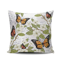 THUONY Sofa Pillowcase Decorative Flowers and Butterflies 16X16 Inch Square Throw Pillow Case Cushion Cover Double Sides Printed (Set of 1)