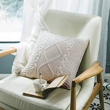 "NVEOP Knitted Decorative Throw Pillow Cover, Soft & Cozy Decorative Pillow Case for 20""x 20"" Throw Pillow(Cover Only, White)"