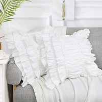 Softta Cute Girls White Ruffles Pillow Covers (2-Pack NO Comforter NO Filling) Decorative Pillow Case Home Soft (18x18 inch)
