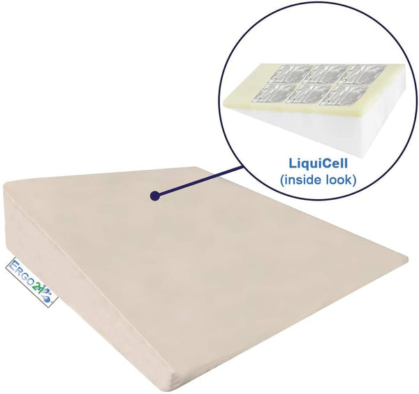 "ERGO21 Acid Reflux Bed Wedge Pillow - LiquiCell Membranes to Promote Blood Flow - Removable 100% Supima Cotton Cover. (2 Sizes) Heartburn, snoring, postnasal drip. USA (Large- 31""W x 28""L x 7""H)"