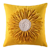 OiseauVoler 3D Sunflower Throw Pillow Cases Decorative Handmade Cushion Covers for Home Sofa Car Bed Room Decor Yellow 18 x 18 Inch
