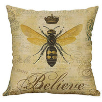 LIUguoo Super Soft Retro Bee Linen Cotton Decorative Square Throw Pillow Covers Set Cushion Case for Sofa Bedroom Car 18x18 inches, 45 x 45 cm