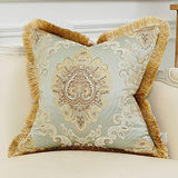 Avigers Luxury Decorative European Throw Pillow Covers 20 x 20 Inch Soft Floral Embroidered Cushion Covers with Tassels for Couch Bedroom Car 50 x 50 cm, Light Blue Gold
