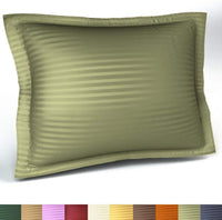 Harmony Lane Sateen Stripe Tailored Pillow Sham, Queen Size, Sage