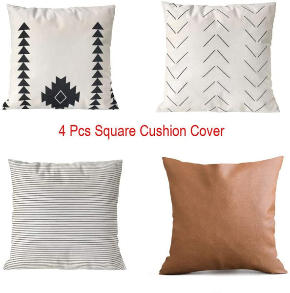 Freeby Decorative Throw Pillow Covers ONLY for Couch, Sofa, or Bed Set of 4 18 x 18 inch Modern Quality Design 100% Cotton Stripes Geometric Faux Leather Set