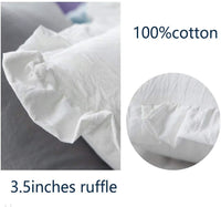 Meaning4 Ruffles Pillow Cases Shams Covers White Queen Size 2 Pack Egyptian Cotton 20x30 inches Soft Thick