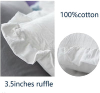 Meaning4 White Pillow Cases Shams Covers Egyptian Cotton with Ruffles Standard or Standerd Size 2Pcs 20x26 inches Soft Thick
