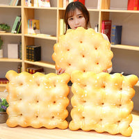 Yukuai 3D Soft Simulation Soda Crackers Shape Novelty Throw Pillows Funny Food Filling Plush Pillow, Cushion Creativity New Must Haves Gift, Suit for Party Home Decor (Round Original Flavor)