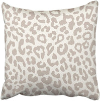 Throw Pillow Cover 18X18 Inch Polyester White Animal Leopard Brown Cheetah Wild Fur Zoo Safari Abstract Romantic Decorative Pillowcase Two Sides Square Print for Home