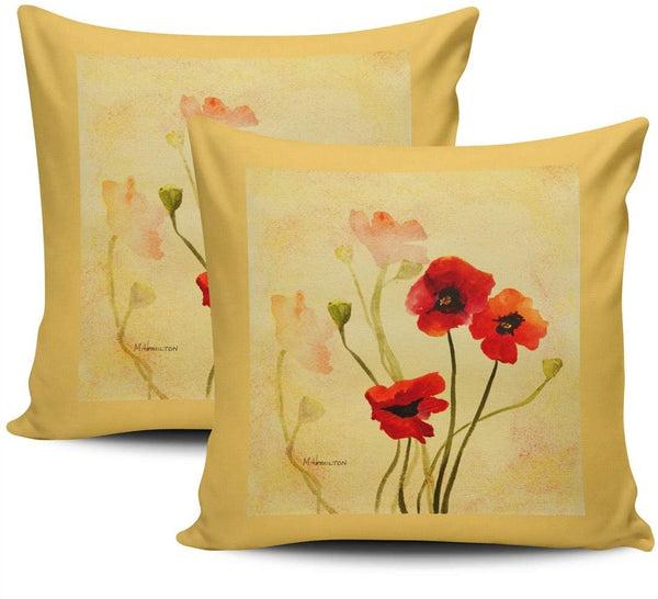 Healbrighting Poppy in Red and Gold Pillow Covers Square Home Decorative Pillowcase 22 x 22 Inch Throw Pillow Cases Double Sides Pattern
