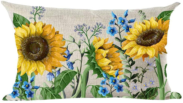 ramirar Watercolor Yellow Sunflowers Blue Flowers Summer Decorative Lumbar Throw Pillow Cover Case Cushion Home Living Room Bed Sofa Car Cotton Linen Rectangular 12 x 20 Inches