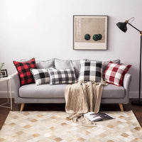MIULEE Set of 2 Retro Farmhouse Buffalo Plaid Check Pillow Cases with Pom-poms Decorative Throw Pillow Covers Cushion Case for Sofa Couch 12x20 Inch Grey and White