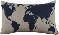 "Tenworld Burlap Linen World Map Decorative Pillow Case Cushion Cover 20"" x 12"""