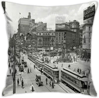 LuWeiHaiShen Simple Decorative Pillow Covers, Cushion Cover18x18 Inches, Invisible Zip -Vintage Detroit City Center