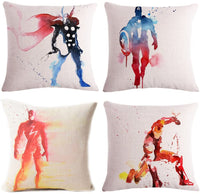 Fyon Superhero 4-Pack Cushion Covers Decorative Throw Pillow Cases for Sofa,Home,car 18x18inch -B