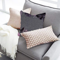 Decozen Decorative Throw Pillow 14x20 in with Insert in 1 Set PU Patchwork for Couch Sofa Bed Living Room Bedroom Indoor Patio